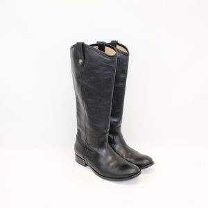 FRYE Black Melissa Button Leather Boots